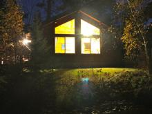 Rippleside cabin at night