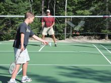 Bad Minton game on the court at Pehrson Lodge on Lake Vermilion