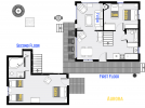 Aurora's floor plan showing two levels, one bedroom, plus loft bedroom and two bathrooms.