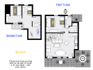 Beacon's floor plan showing two levels, two bedrooms, plus loft bedroom and two bathrooms.