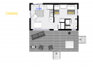 Cardinal's floor plan showing one bedroom and one bathroom.