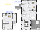 Chickadee's floor plan showing two levels, two bedrooms and two bathrooms.