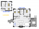 Lakeshore's floor plan that shows two bedrooms, plus loft bedroom and two bathrooms.