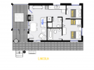Lincoln's floor plan showing two bedrooms and two bathrooms.