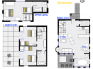Mackinaw's floor plan showing three levels, three bedrooms and two and a half bathrooms.