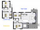 Minnesota's floor plan showing two levels, four bedrooms and two bathrooms.