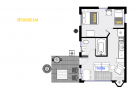 Moonbeam's floor plan shows one bedroom and one bathroom.