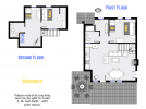 Moorings floor plan showing two levels, two bedrooms, plus loft, and two bathrooms.