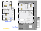 Sandpiper's floor plan showing two levels, three bedrooms, plus loft bedroom and two bathrooms.