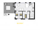 Sea Spray's floor plan showing two bedrooms and one bathroom.