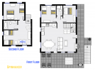 Spinnaker's floor plan showing two levels, three bedrooms, plus loft bedroom and two bathrooms.