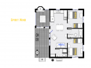Spirit Wind's floor plan showing two bedrooms and two bathrooms.