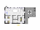 Surf's floor plan showing two bedrooms and two bathrooms.