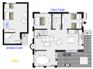 Wren't floor plan showing two levels, two bedrooms, plus loft bedroom and two bathrooms.
