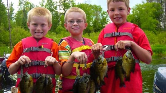 Three young boys with a stringer of bluegills