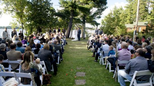 Outdoor wedding ceremony on the shores of Lake Vermilion