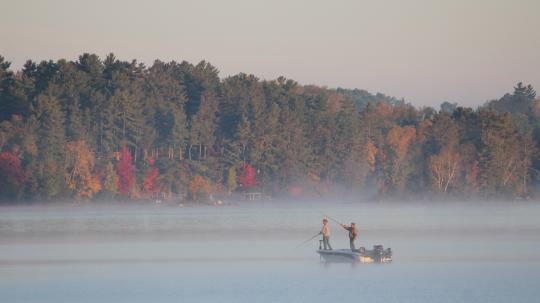 Fishing boat during fall on Lake Vermilion fishing special