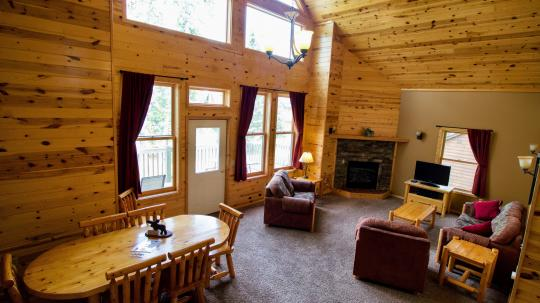 The living room in Grand Vermilion Chalet unit Lighthouse