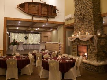 Winter wedding reception setup in the lodge