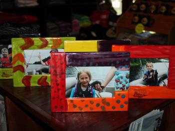 Picture frames made by kids Program participants