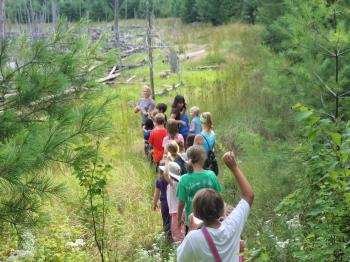 Kids Program participants hike at the Black Bay Trail