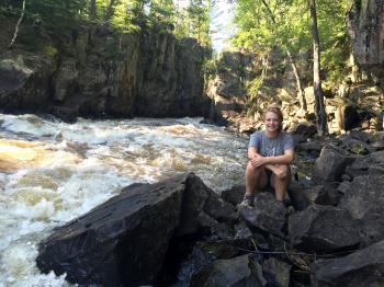 Signe sits back to enjoy the Vermilion Gorge