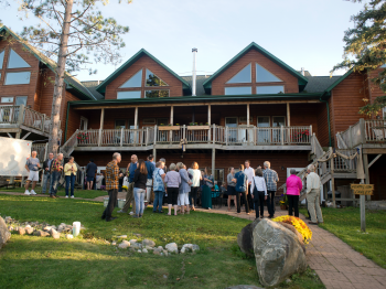 Reception outside the Grand Vermilion Chalet