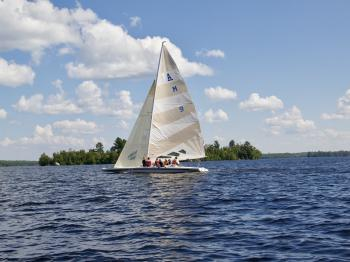 A scow sailing on Lake Vermilion