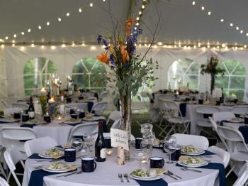 Wedding reception in a tent