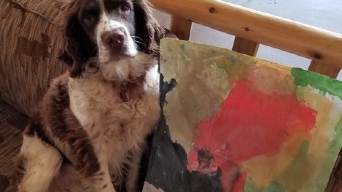 Odie with the painting from his friend, Samatha