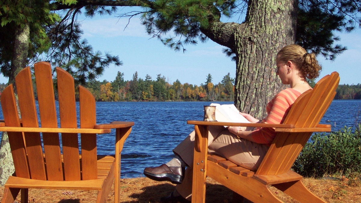 Reading on a sunny fall day on Lake Vermilion
