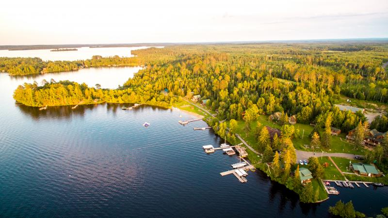 Areal view of Pehrson Lodge on Lake Vermilion