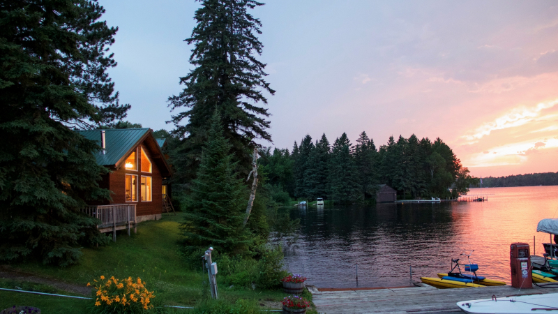 Lake Vermilion Cabin at sunset.