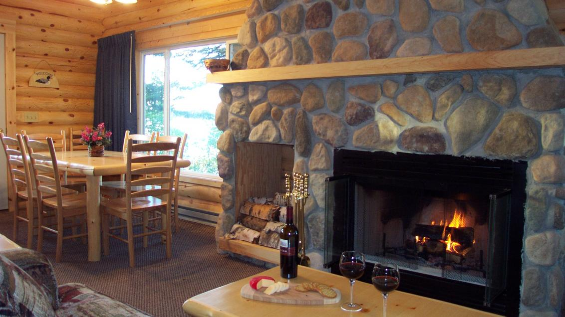 Comfortable fire place in a Lake Vermilion cabin