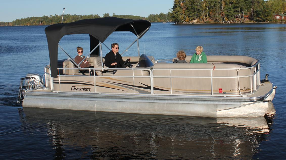 Family on pontoon boat